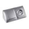 Угловой накладной блок розеток Simon CornerBox Gl 4x220В. Французский стандарт розеток