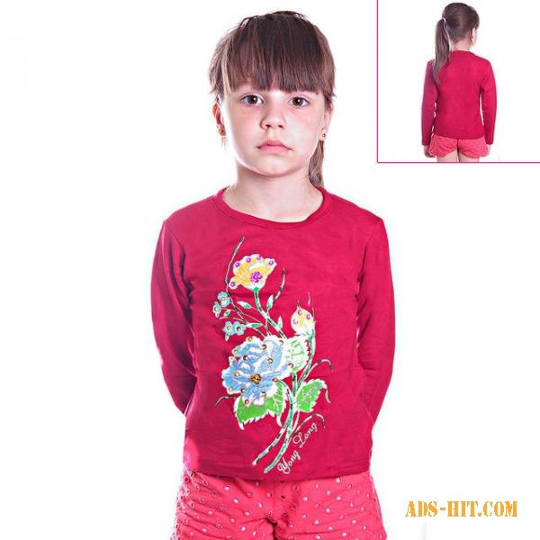 Кофту детскую красную с цветами