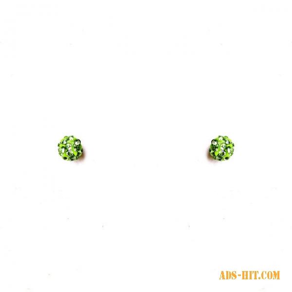 Серьги шарики маленькие страза зеленый