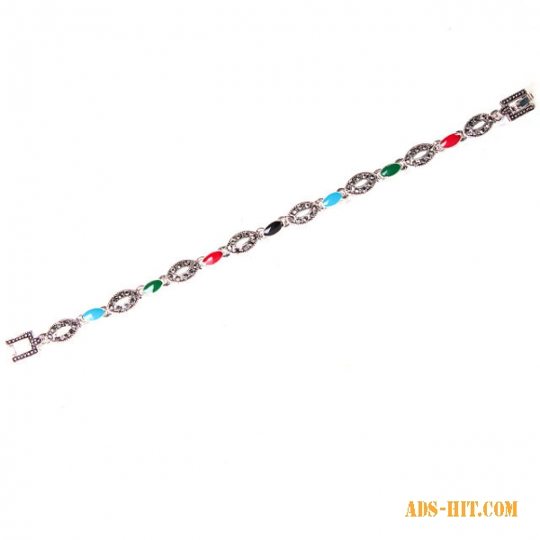 Браслет разноцветные камни круглые с цветами