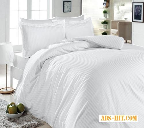 Постельное белье для гостиниц, Комплект Белый страйп (бязь)