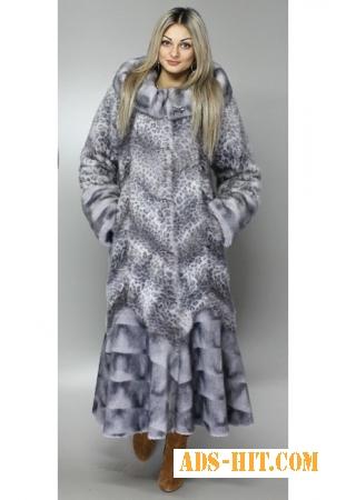 Изысканная шуба из эко-меха(серо-голубой леопард)