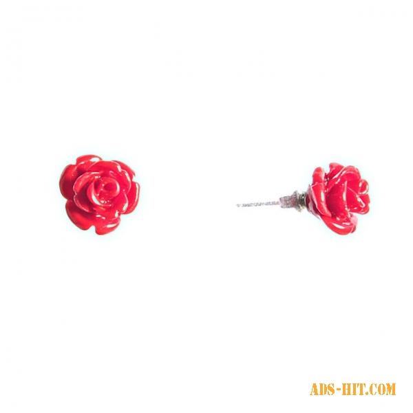 Серьги гвоздики Роза мини-1 красная