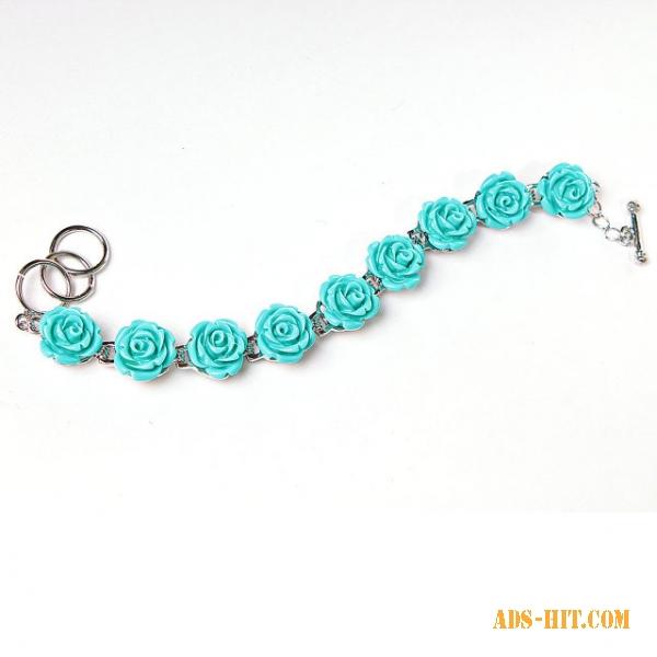 Браслет розы голубые полимерная глина