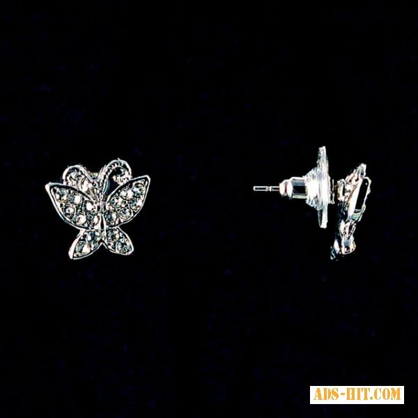 Серьги-пусеты Бабочки, белые стразы