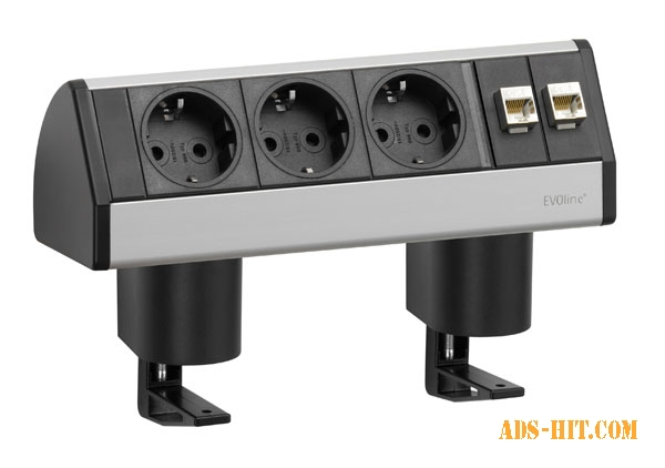 Горизонтальный блок EVOline Dock Data Small 3×220В + 2×RJ45