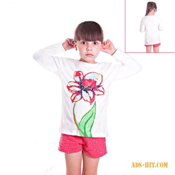 Кофту детскую белую с розой