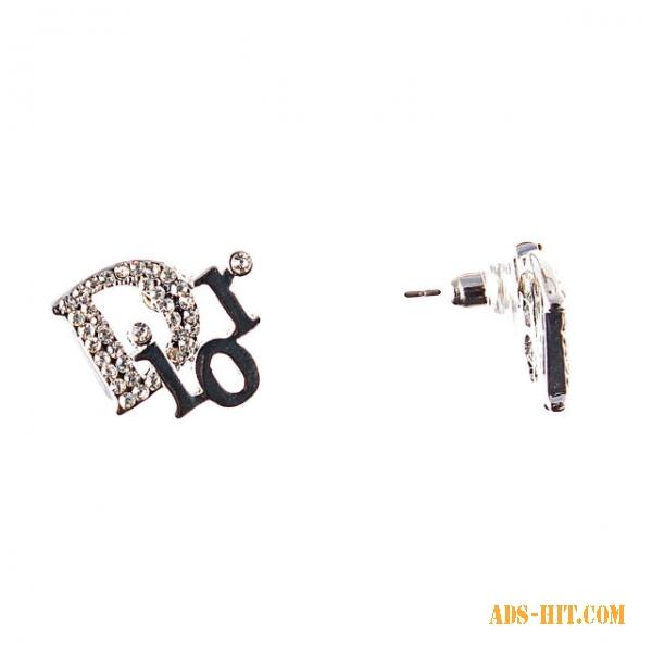 Серьги Dior с белыми стразами