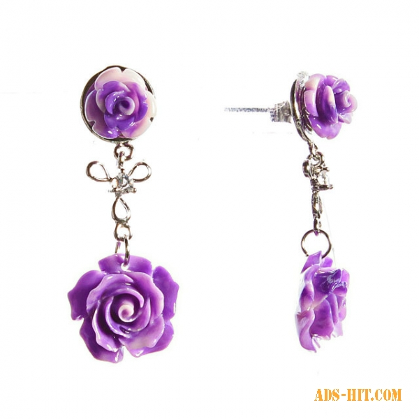 Серьги-гвоздики с подвеской Две Розы сереневая