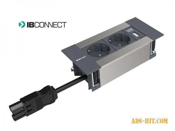 Врезной блок розеток IB Connect Intro 2x220+USB-зарядное