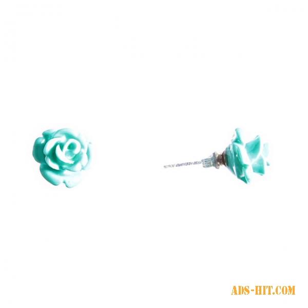 Серьги гвоздики Роза мини-1 голубая