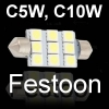 Светодиодная Led автолампа C5W, C10W Festoon с цоколем SV8, 5 31, 36, 39, 42 мм 12V вольт