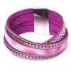 Браслет магнит кожа текстиль бисер Фиолет