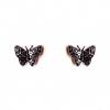 Серьги бабочка черная страза