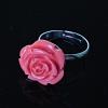 Кольцо без р-р Роза полимерная глина розовый