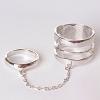 Кольцо на два пальчика спираль кольцо сильвер