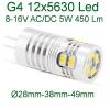 Светодиодная Led лампа G4 5W, 450 Lm, 12V, 8-16V