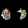 Серьги-пусеты объемные с цветочными элементами