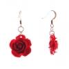 Серьги-подвески Роза-2 красная