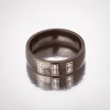 Кольцо Обручка черная эмаль 6 камней