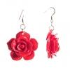 Серьги-подвески Роза-3 красная