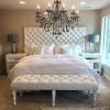 Classic мягкая стёганая кровать серая, белая 140*200, 160*200, 180*20