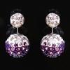 Cерьги Dior фиолетовые дутики белые стразы