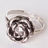 Кольцо безразмерка роза в центре страза