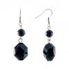 Серьги-пусеты подвески с чёрными камнями