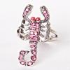 Кольцо скорпион страза розовый
