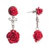 Серьги-гвоздики с подвеской Две Розы красная