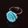 Кольцо без р-р Роза полимерная глина голубой