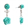 Серьги-гвоздики с подвеской Две Розы голубая