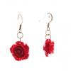 Серьги-подвески Роза-1, 5 красная полимерная глина