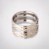 Кольцо Обручка под серебро с золотом рефленое