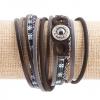 Браслет эко-кожа черный на магните Три кольца